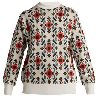 Toga Intarsia Knit Wool Sweater - Womens - White Multi