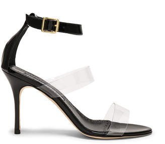 Manolo Blahnik Patent Leather & PVC Kaotic 90 Sandals in Black Patent & Clear PVC | FWRD