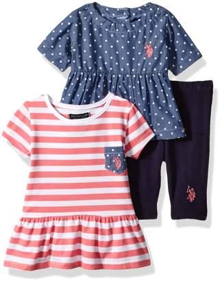 U.S. Polo Assn. Baby Girls' 3 Piece Legging Set Chambray Pocket