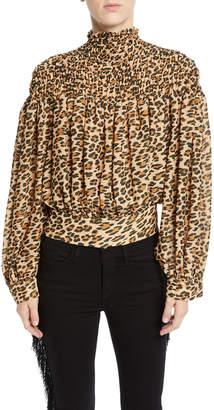 Frame Smocked Cheetah-Print Long-Sleeve Blouse