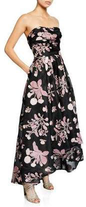 Marchesa Strapless Floral Embroidered High-Low Fil-Coupe Dress