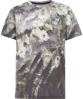 River Island Boys khaki camo smudge print T-shirt