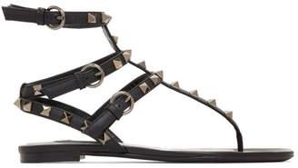 Valentino Black Garavani Rockstud Cage Sandals