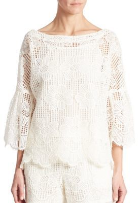 Trina Turk September Bell Sleeve Lace Top $238 thestylecure.com