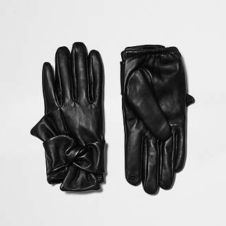 River Island Black leather bow driving gloves