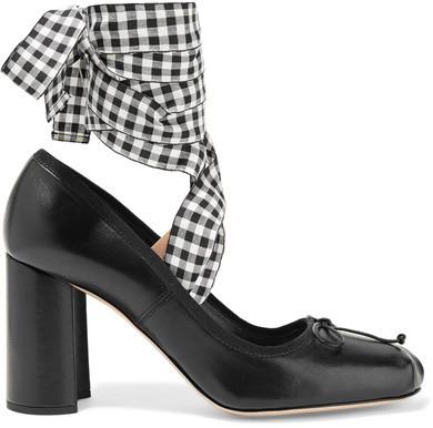 Miu Miu - Lace-up Leather Pumps - Black