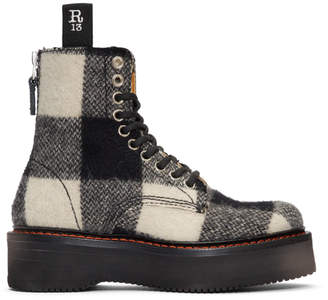 R 13 Black and White Plaid Single Stack Boots