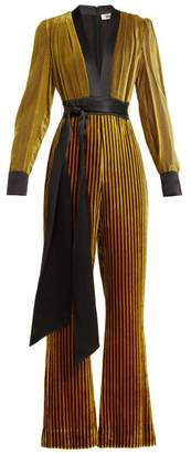 Diane von Furstenberg Satin Trimmed Striped Velvet Jumpsuit - Womens - Black Gold