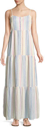 Splendid Arco Iris Striped Shirting Tiered Maxi Dress