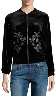 Hazel Embroidered-Detail Velvet Bomber Jacket, Black $79 thestylecure.com