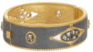 Freida Rothman 14K Gold & Rhodium Plated Sterling Silver Rose d'Or Open CZ Bangle Bracelet