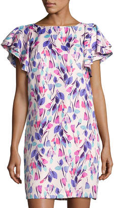 Donna Morgan Ruffle-Sleeve Floral-Print Shift Dress, Multi Pattern $89 thestylecure.com