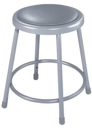 "National Public Seating NPS 18"" Heavy Duty Vinyl Padded Steel Stool, Grey"