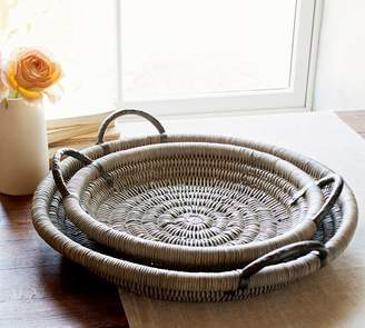 Pottery Barn Round Woven Tray with Handles