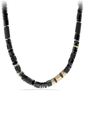 David Yurman Nevelson Bead Necklace with Black Onyx in 18K Gold