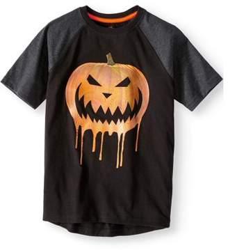 HALLOWEEN Boys Halloween Short Sleeve Raglan Glow in The Dark Graphic Tee Shirt