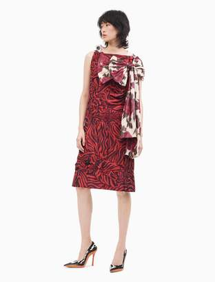 Calvin Klein Crushed Printed Silk Couture Inspired Dress With Detachable Bow Scarf