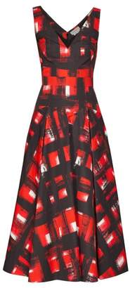Alexander McQueen Flared Abstract Print Cotton Poplin Midi Dress - Womens - Red Multi