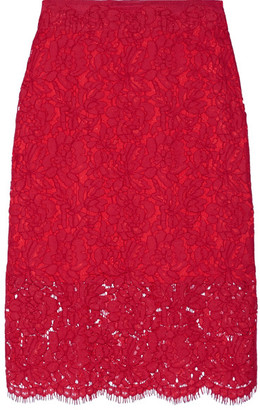 Diane von Furstenberg - Glimmer Corded Lace Pencil Skirt - Red $330 thestylecure.com