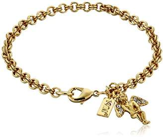 Symbols of Faith Inspirations 14k Gold-Dipped Crystal Angel Chain Link Charm Bracelet