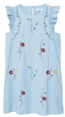MANGO Embroidered cotton dress