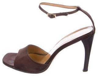 Gucci Satin Square-Toe Sandals