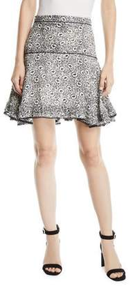 Derek Lam 10 Crosby Floral-Print Flounce Mini Skirt with Pompom Trim