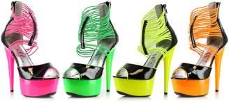 "Ellie Shoes E-609-Adore 6"" Neon Stiletto with Elastic Straps Blacklight sensitive 11"