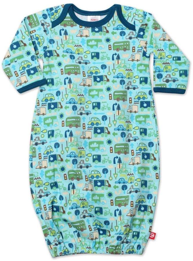 Zutano Road Trip Gown - Aqua-6 Months