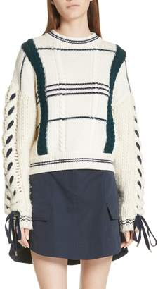 Carven Cable Knit Merino Wool & Alpaca Sweater