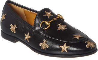 7921051ecd7 Gucci Jordaan Bees   Stars Embroidered Leather Loafer