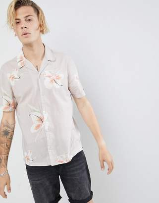 AllSaints short sleeve revere shirt with hawaiian floral print