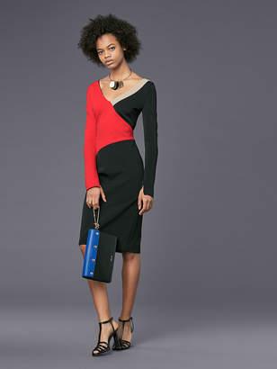 Diane von Furstenberg Long-Sleeve V-Neck Banded Dress