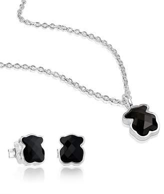Tous Sterling Silver Teddy Bear Necklace & Earrings Set