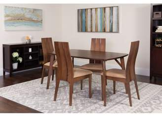 Flash Furniture Dearborn 5 Piece Walnut Wood Dining Table Set with Wide Slat Back Wood Dining Chairs - Padded Seats