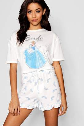 boohoo Disney Cinderella 'Bride To Be' Frill PJ Short Set