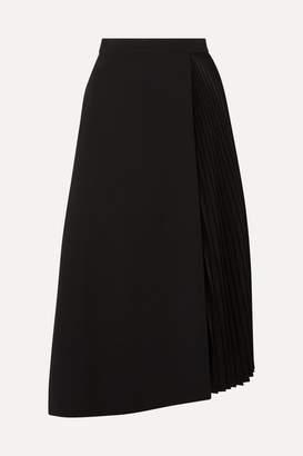 Akris Wrap-effect Wool-blend And Pleated Satin Midi Skirt - Black
