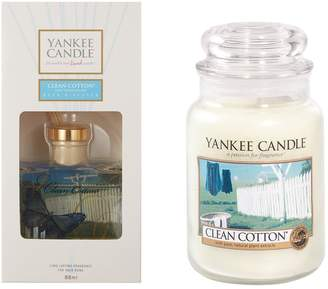 Yankee Candle Clean Cotton Large Jar Candle and Reed Diffuser Set
