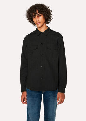 Paul Smith Men's Classic-Fit Black Dotted Line Seersucker Patch-Pocket Shirt