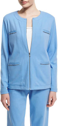 Joan Vass Long-Sleeve Four-Pocket Chain-Trim Jacket, Cornflower, Plus Size