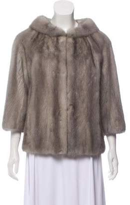 Stand Collar Mink Fur Coat