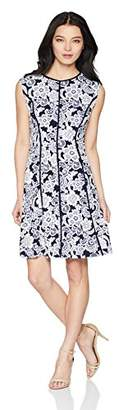 Sandra Darren Women's Petite 1 PC Sleevless All Over Printed ITY Puff Fit & Flare Dress