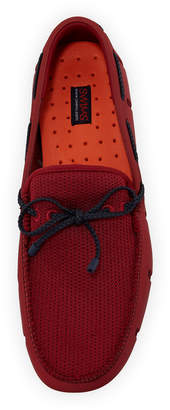 Swims Men's Mesh & Rubber Braided-Lace Boat Shoe, Red