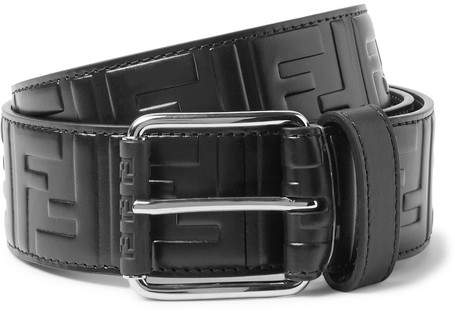Fendi 4.5cm Black Logo-Embossed Leather Belt