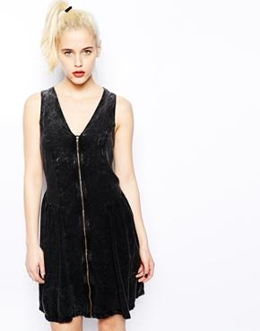 Monki Acid Wash Zip Front Dress