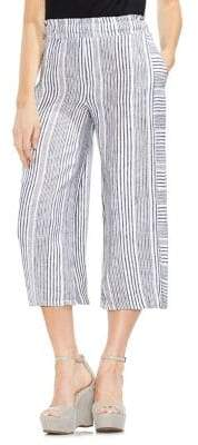 Vince Camuto Cropped High-Rise Linen Trousers