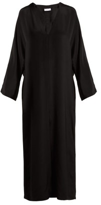Raey - Kimono Sleeve Silk Beach Dress - Womens - Black