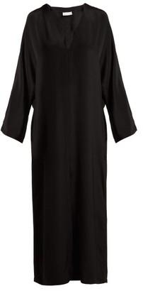 Raey Kimono Sleeve Silk Beach Dress - Womens - Black