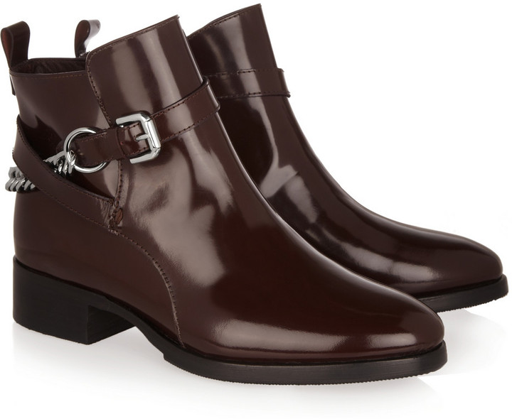 McQ by Alexander McQueen Paddock chain-detailed glossed-leather ankle boots