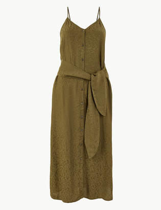 Marks and Spencer Jacquard Tie Front Waisted Midi Dress